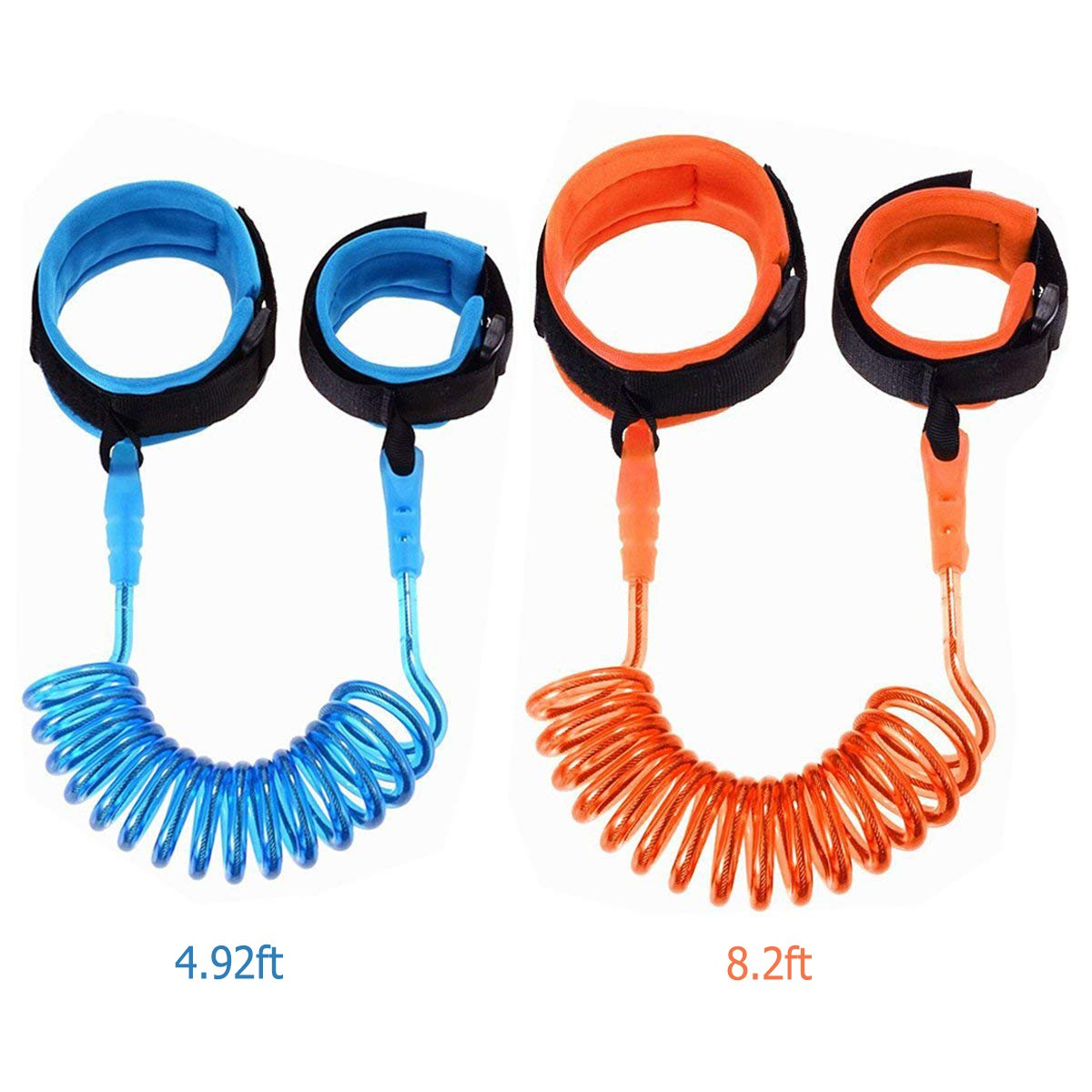 Anti Lost Wrist Link, GiftedMary 2 Pack Safety Wrist Band Straps Leash Gift for Toddlers Babies Kids for Travel Shopping Outdoor Activities 2.5m Orange and 1.5m Blue