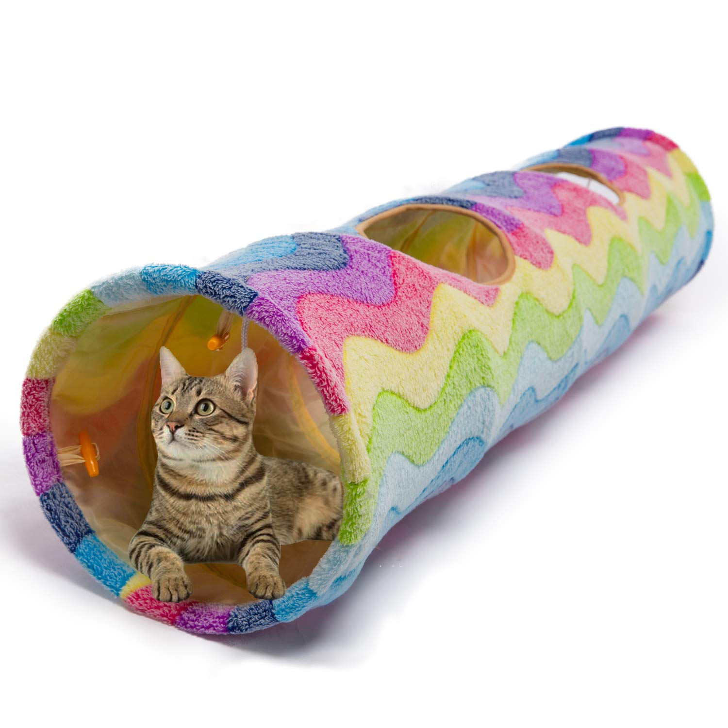 Luckitty Large Cat Toys Collapsible Tunnel Tube with Plush Balls, for Small Pets Bunny Rabbits, Kittens, Ferrets,Puppy and Dogs,Rainbow Color by Luckitty