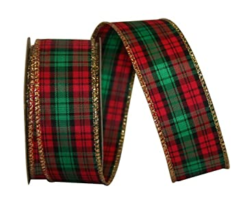 wired tartan red green and gold plaid christmas ribbon 1 38 - Plaid Christmas Ribbon