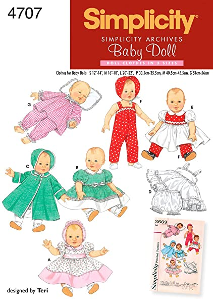 Amazon.com: Simplicity Sewing Pattern 4707 Doll Clothes, A (S-M-L ...
