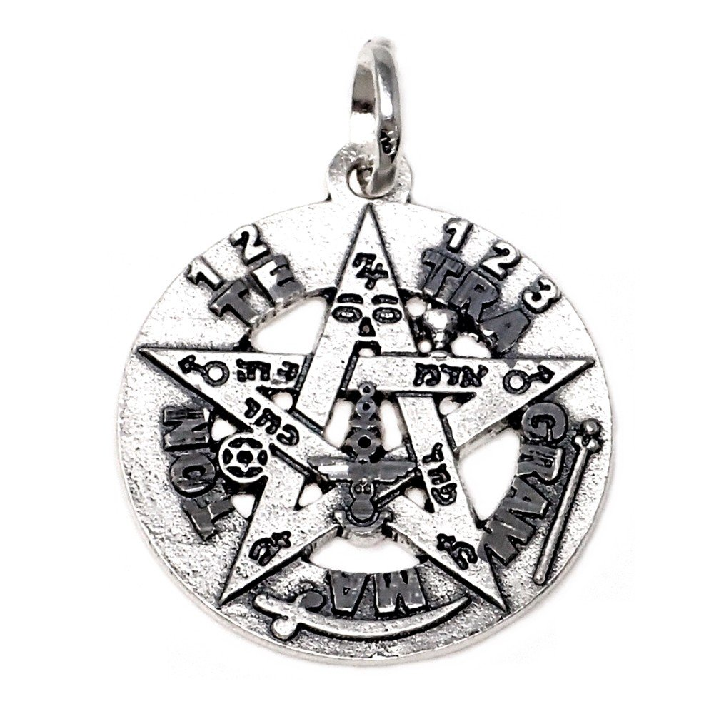 Colgante plata Ley 925m Tetragramat/ón 26 mm AB5165 amuleto