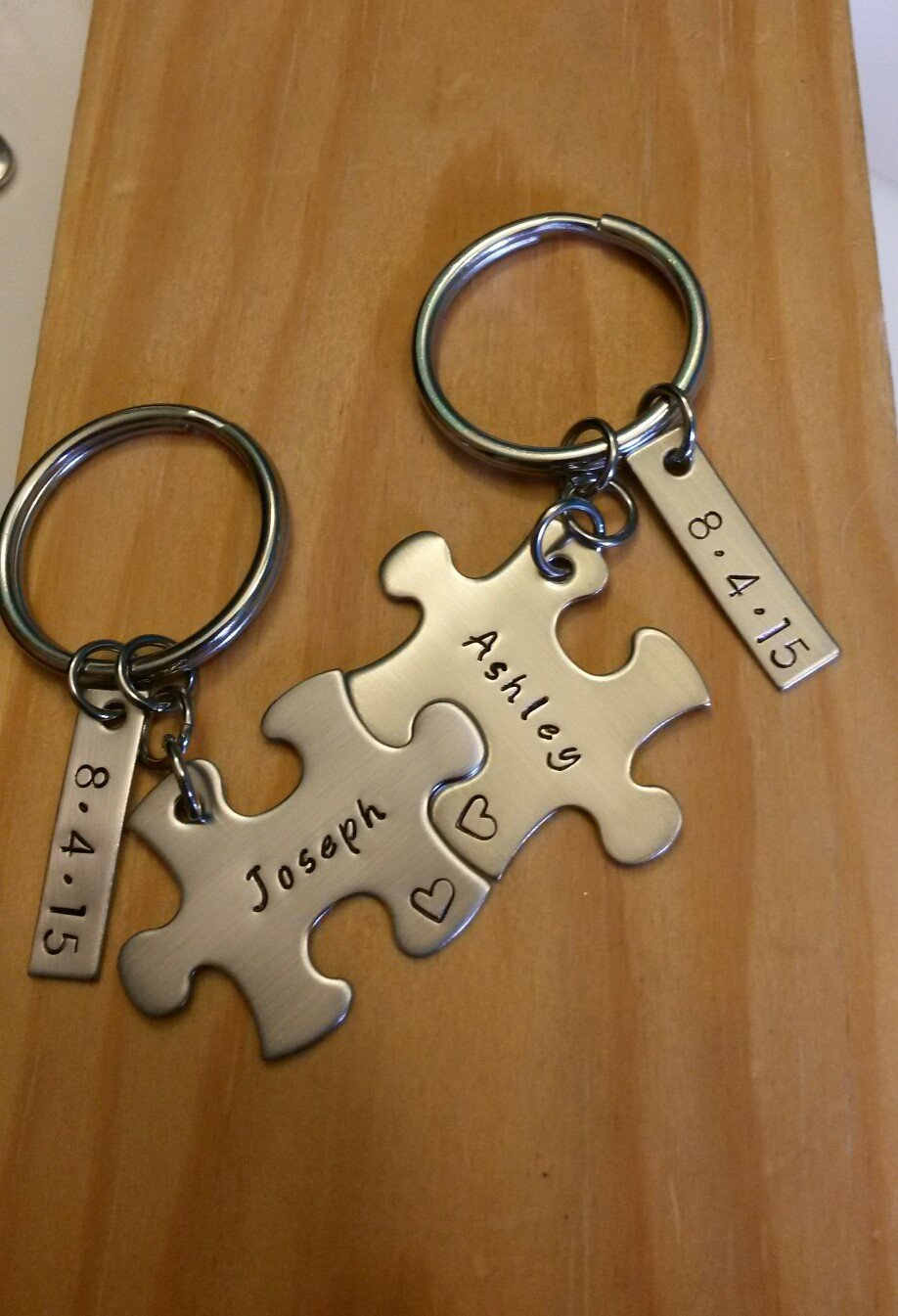 4760f7dd12f5b Amazon.com  Hand Stamped Personalized Couples Puzzle Piece Keychains - Couples  Keychains - Wedding Gift - Anniversary Gift - Boyfriend Gift  Handmade