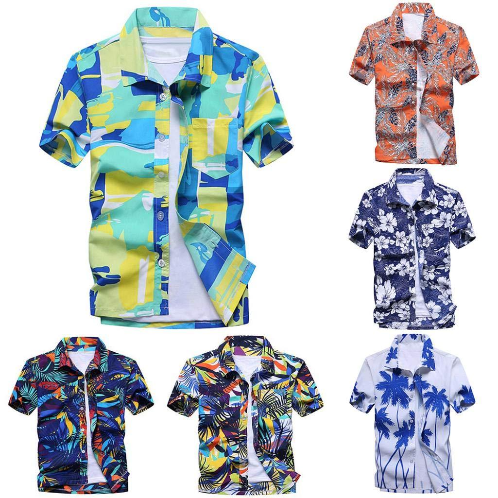 Plus Size Hawaiian Summer Beach Men Buttons Turn Down Short Sleeve Shirt Top 1# L