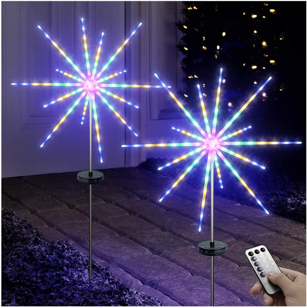 DenicMic Solar Firework Meteor Lights 2 Pack, Outdoor Solar Garden Decorative Starry Starburst Lights with Remote, 8 Modes Landscape Lights for Walkway Path Yard Christmas Holiday Party (Multicolor)