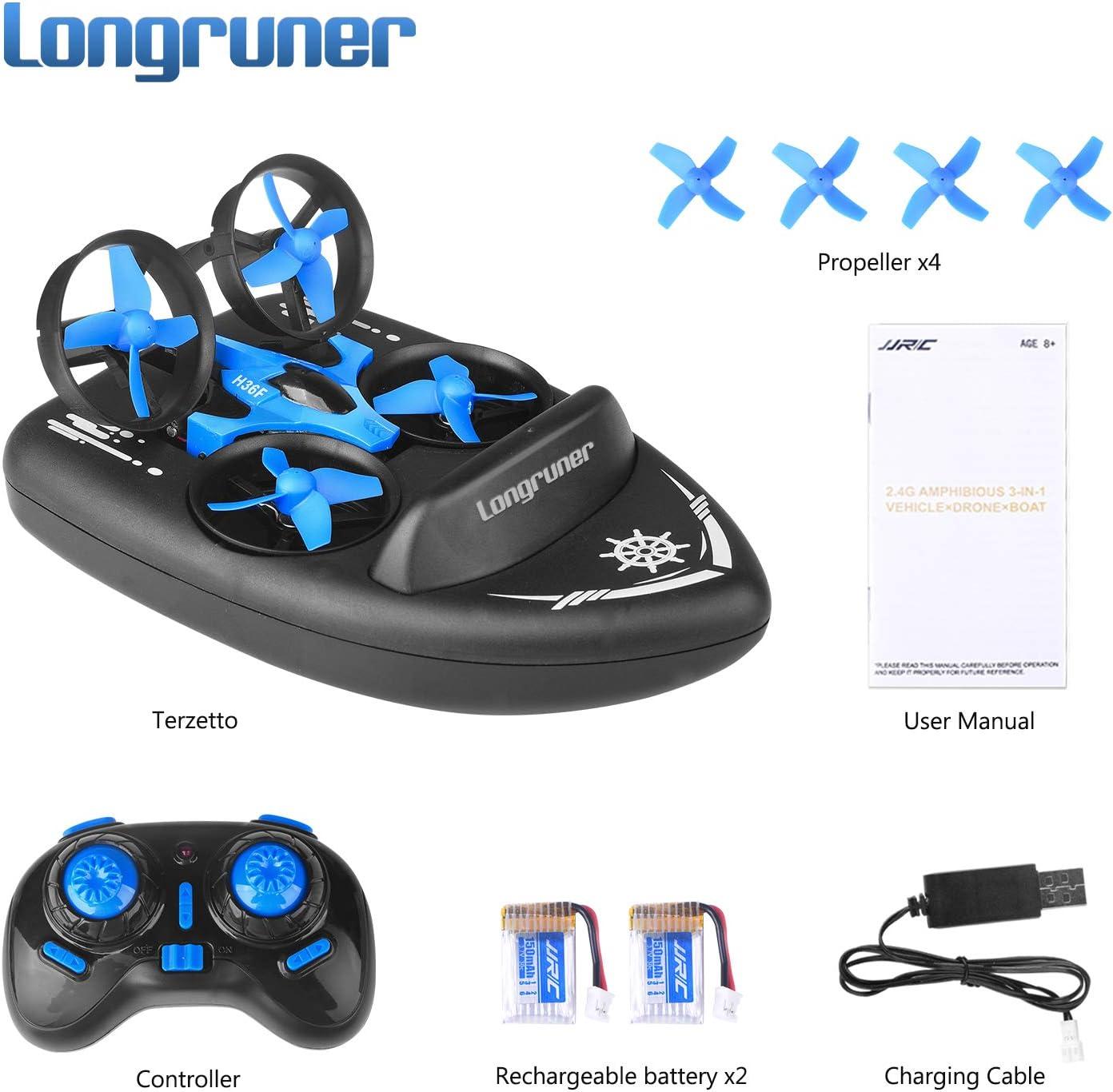 Longruner Mini Drohne RC Drone Quadrocopter 2.4GHz 360/° Grad Flip Ferngesteuerte Drohne mit Kopflos Headless Modus EIN Tasten R/ückkehr f/ür Kinderund Anf/änger H36F