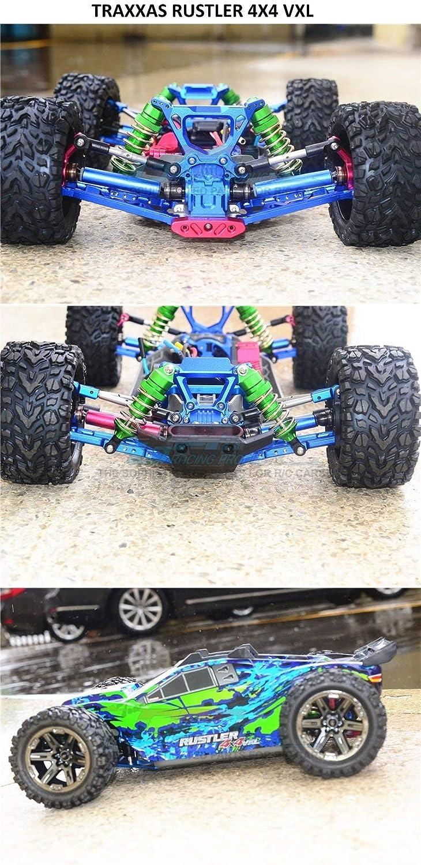 Upgrade Parts Aluminum Front - 4Pc Set Green Traxxas Rustler 4X4 VXL 67076-4 Rear Shocks Low Center of Gravity Version
