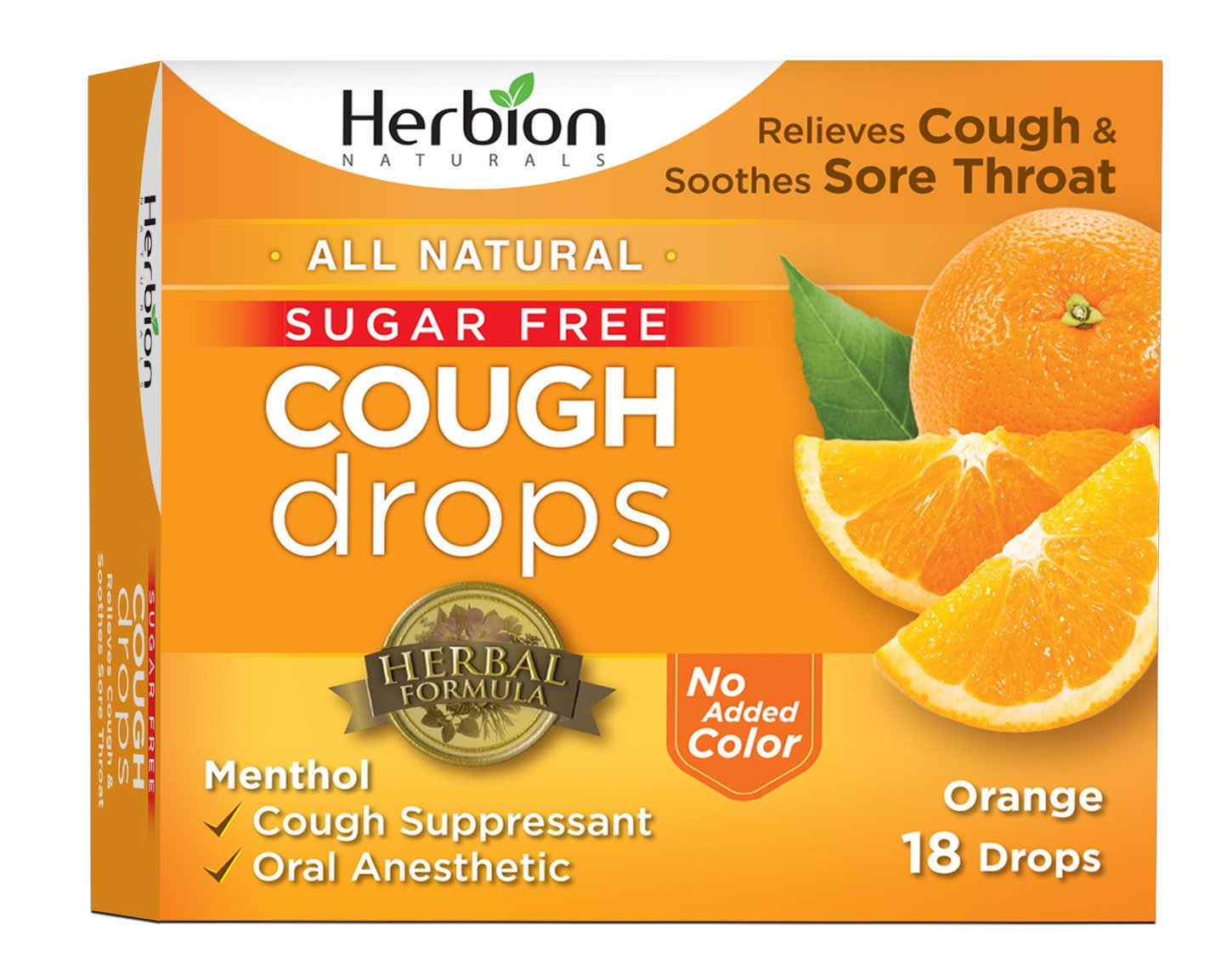 Herbion Naturals Sugar-Free Cough Drops with Natural Orange Flavor, 18  Drops, Oral Anesthetic