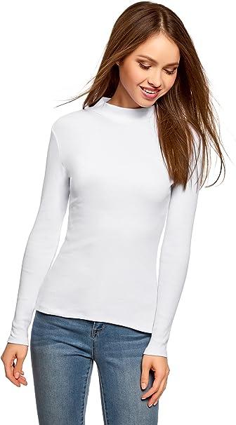 oodji Ultra Damen Baumwoll-Pullover Basic mit Stehkragen