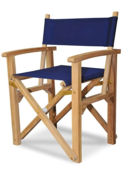 Eco Friendly Furnishings Set Of 2 Natural Teak Directors Chairs With Navy  Blue Colored Sunbrella