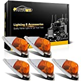 Partsam 5x Universal Teardrop Style Amber Cab Roof Clearance Marker Lights Kit for Trucks Trailers Peterbilt Freightliner Kenworth Mack Western Star