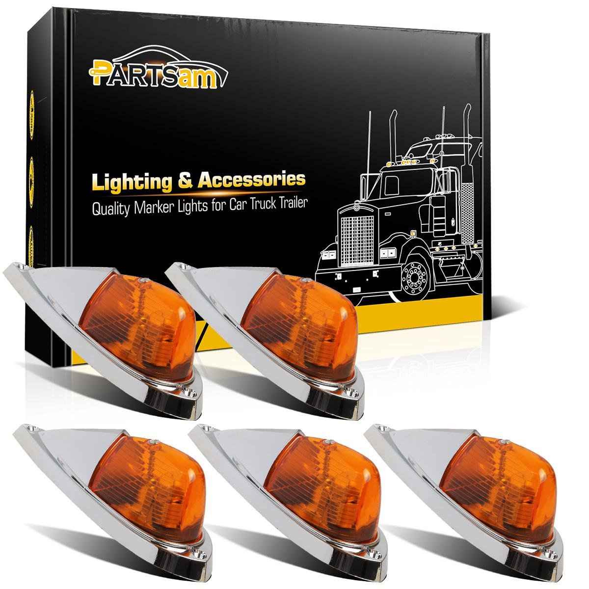 Partsam 5x Amber Cab Roof Clearance Marker Lights Kit Universal Teardrop Style Cab Light Replacement For Trucks Trailers Peterbilt Freightliner Kenworth Mack Western Star