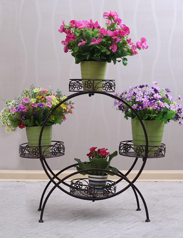 lb blumenregal 4 lagiges blumentopfgestell aus eisen europaweit im innen und au enbereich. Black Bedroom Furniture Sets. Home Design Ideas