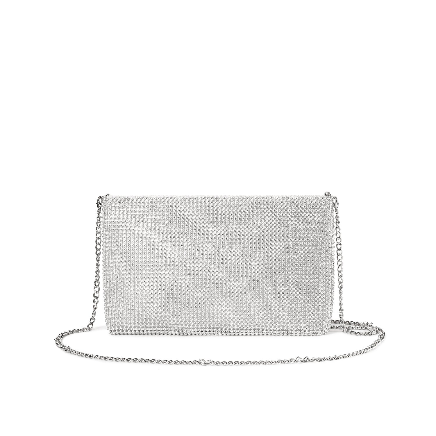 LOVEVOOK Evening Bag Crossbody Bag Clutch Purse for Party Prom with Sparkly Rhinestones Silver