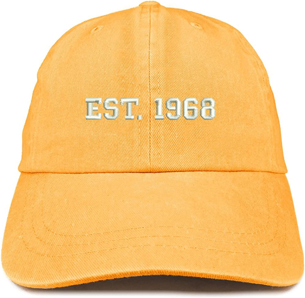 Trendy Apparel Shop EST 1968 Embroidered - 53rd Birthday Gift Pigment Dyed Washed Cap