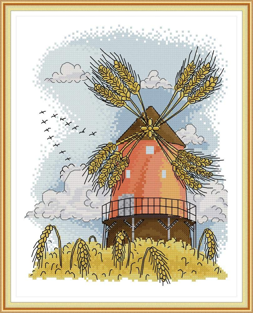 Cross Stitch Stamped Kits Pre-Printed Cross-Stitching Starter Patterns for Beginner Kids or Adults Summer Windmill Needlepoint Set Embroidery Kits for Home Decor