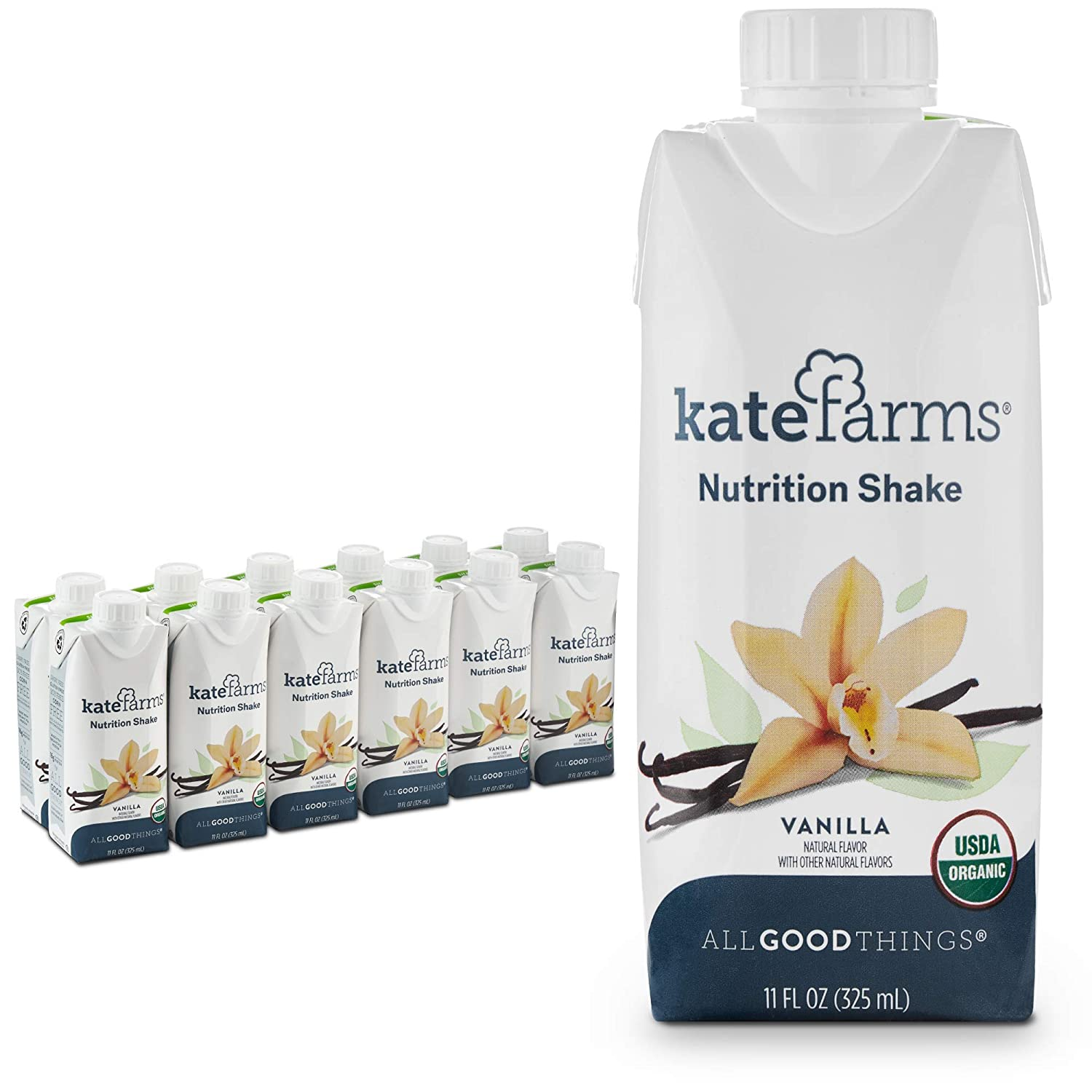 Amazon Com Kate Farms Organic Nutrition Shake Vegan Protein Shakes Nutrient Dense Meal Replacement Drinks Or Supplemental Snack Made Without Gluten Soy Dairy Or Corn Vanilla Case Of 12 Grocery