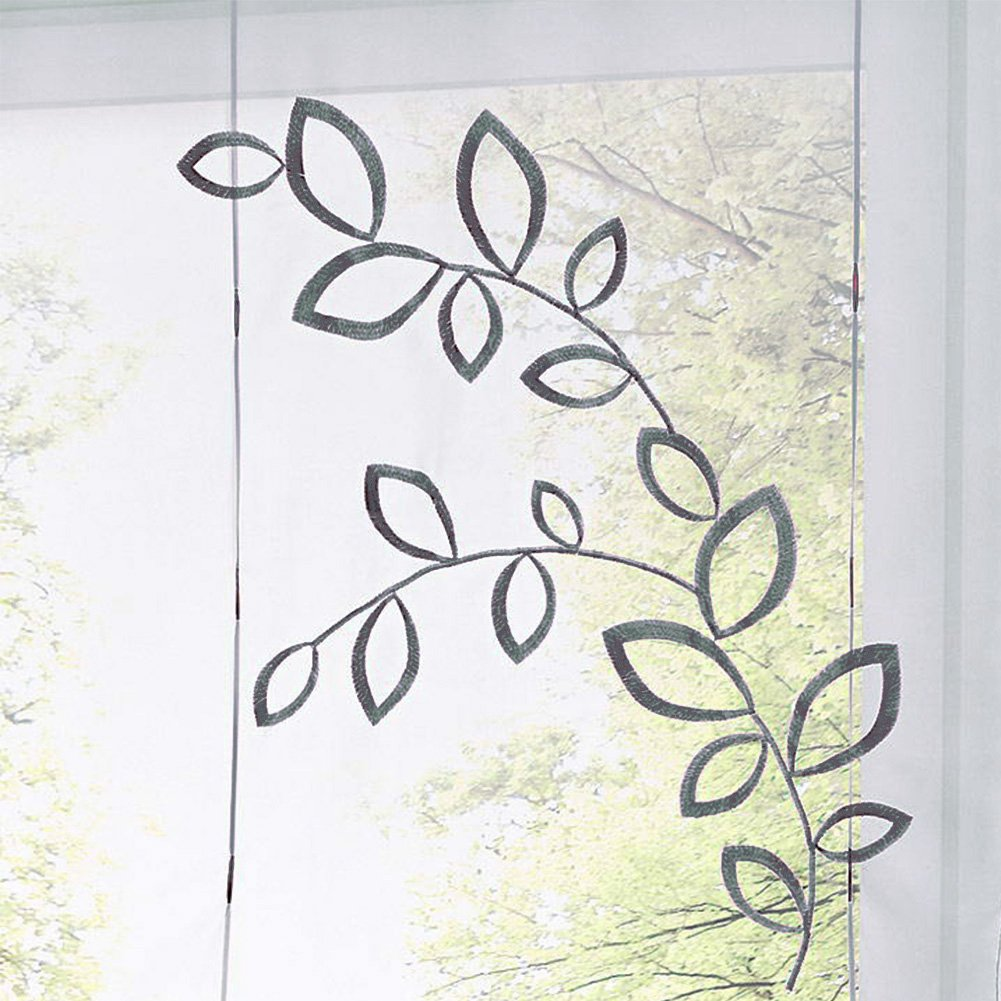 Grau, 60x120cm KOU-DECO Tunnelzug Raffgardine Blumen Stickerei Raffrollo Voile Transparente Wei/ße Vorhang mit Stangen 1 St/ück