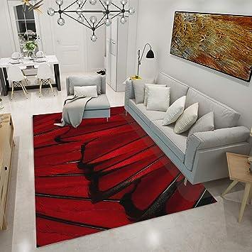 DAMENGXIANG Rouge Noir Moderne Impression Abstraite Salon Table Basse Tapis  Antidérapant Tapis De Chambre À Coucher