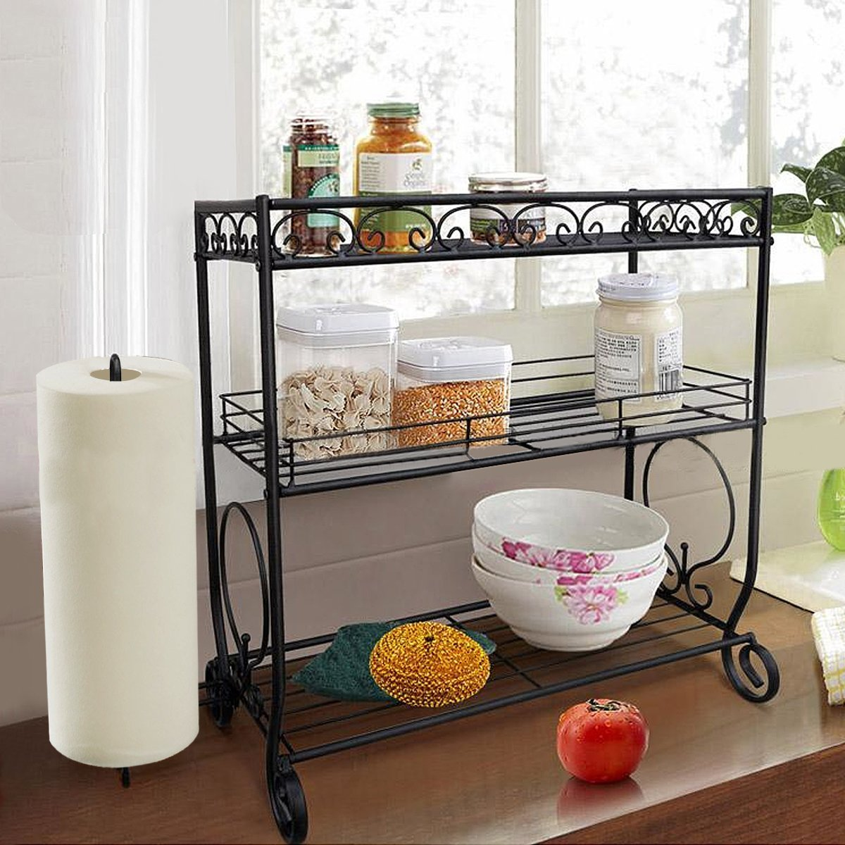3 Tier Spice Rack Kitchen Storage Stand Towel Holder Jars