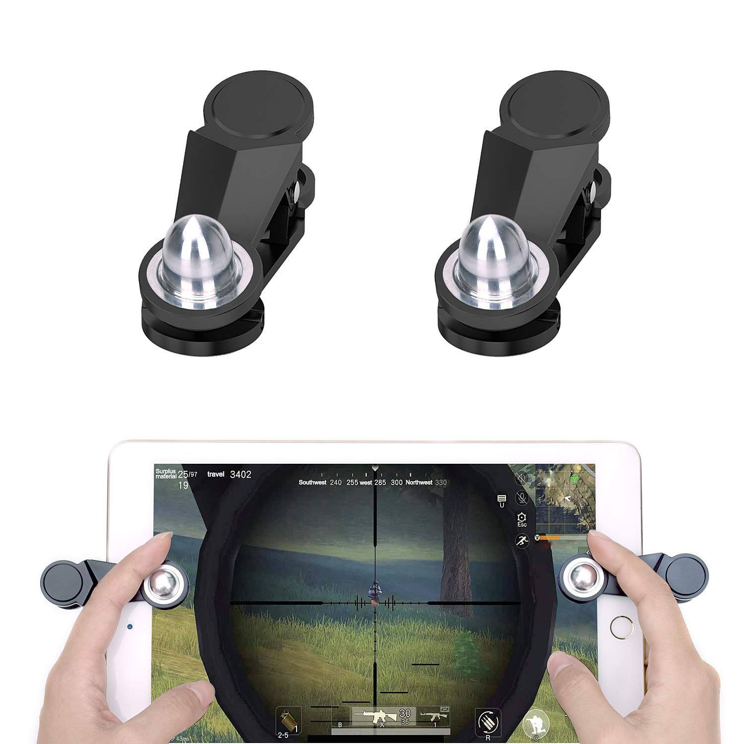 [2 Triggers] PUBG Fortnite Tablet Game Controller - GTOTd Ipad Game Accessories,Slates Game Trigger,L1R1 Sensitive Shoot and Aim,Gift for Kids and Player [New Version] (Black)