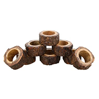 ShalinIndia Artisan Crafted Rustic Wood Napkin Rings Set of 8 for Dinner Table Decoration