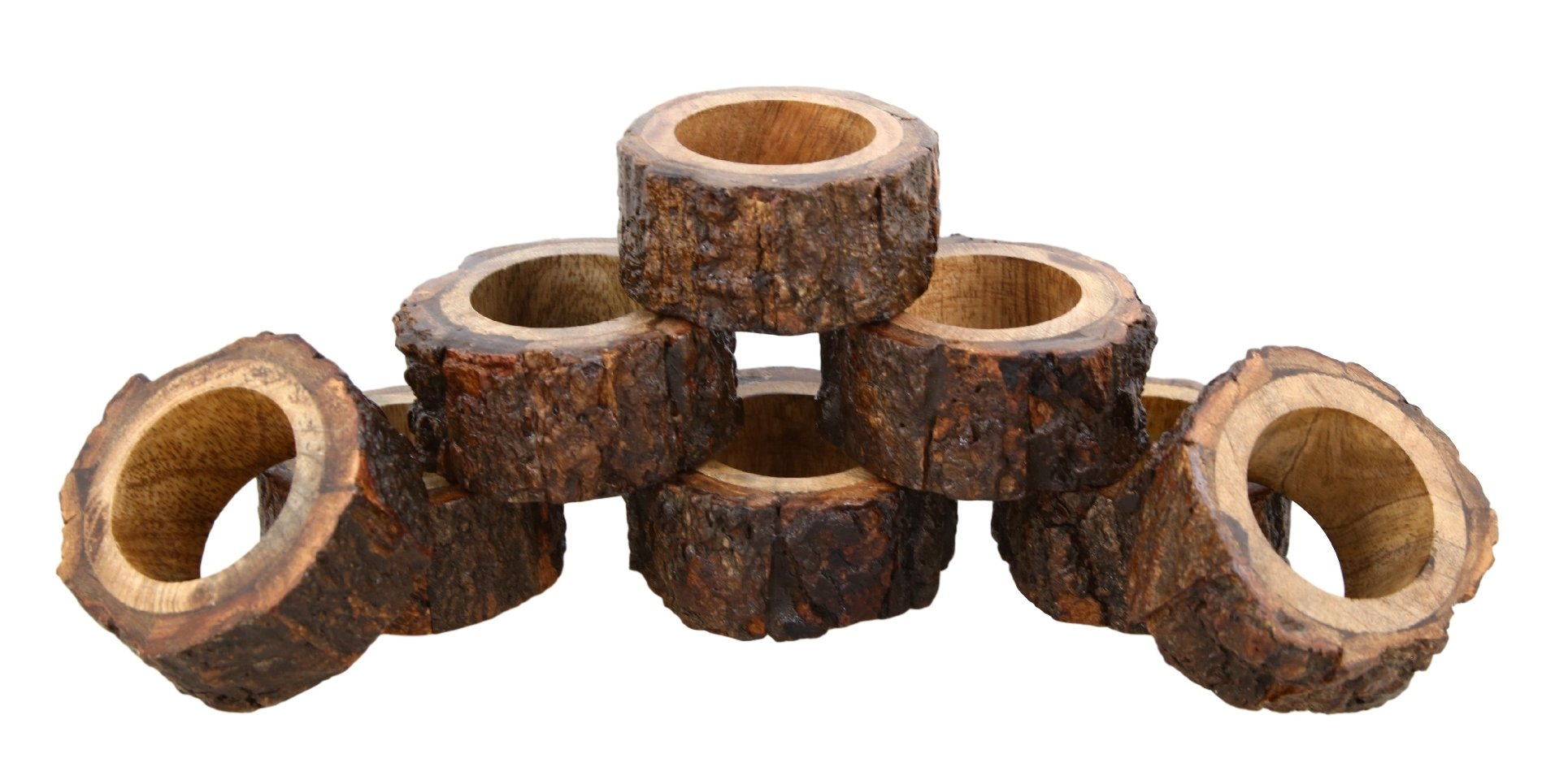 ShalinIndia Artisan Crafted Rustic Wood Napkin Rings Set of 8 for Dinner Table Decoration by ShalinIndia (Image #1)