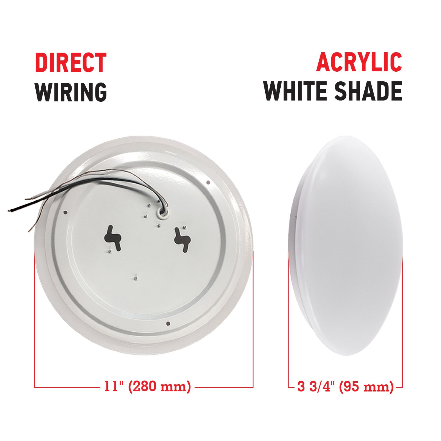 OSTWIN 11-inch LED Flush mount Ceiling Light MS Series 20W (100 Watt equivalent), Dimmable, 5000K (Daylight), 1864 Lumens, White Finish with Acrylic shade, ETL and ENERGY STAR listed by OSTWIN (Image #5)