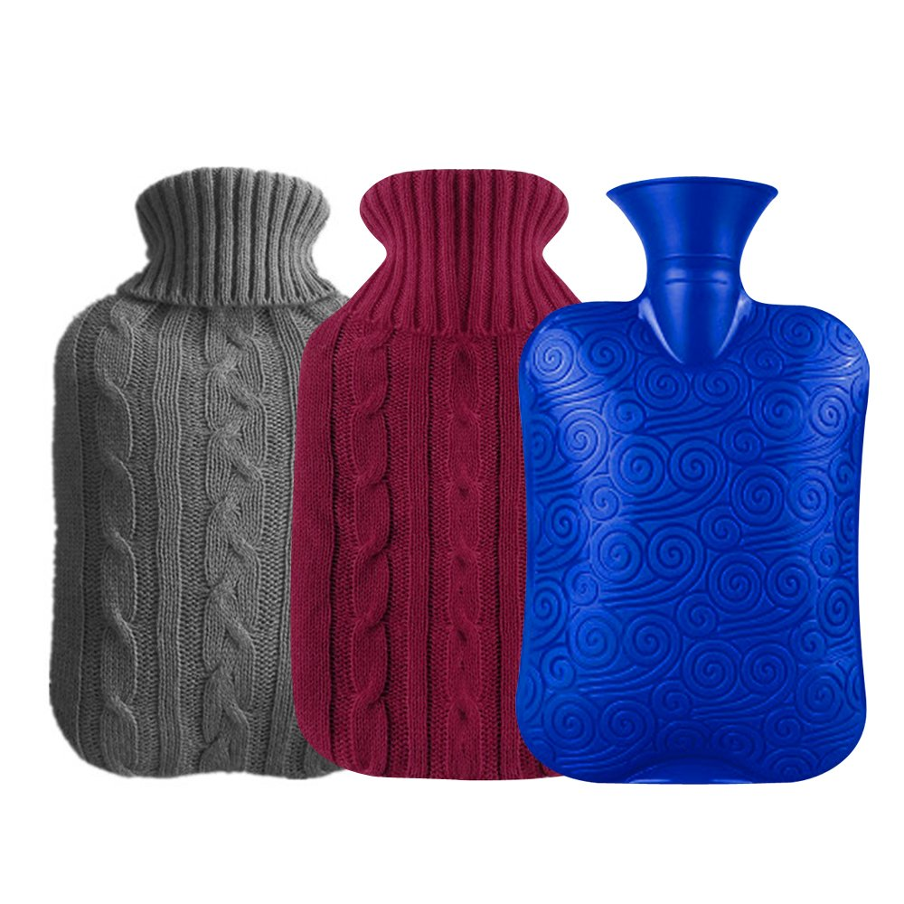 AMAZECO Classic Rubber Transparent Hot Water Bottle 2 Liter with 2 Knit Cover - Red and Grey(2L)