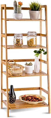 COSTWAY 47.5'' Bamboo Ladder Shelf Multifunctional Plant Flower Display Stand Storage Rack Bookcase Bookshelf Natural 4 Tier