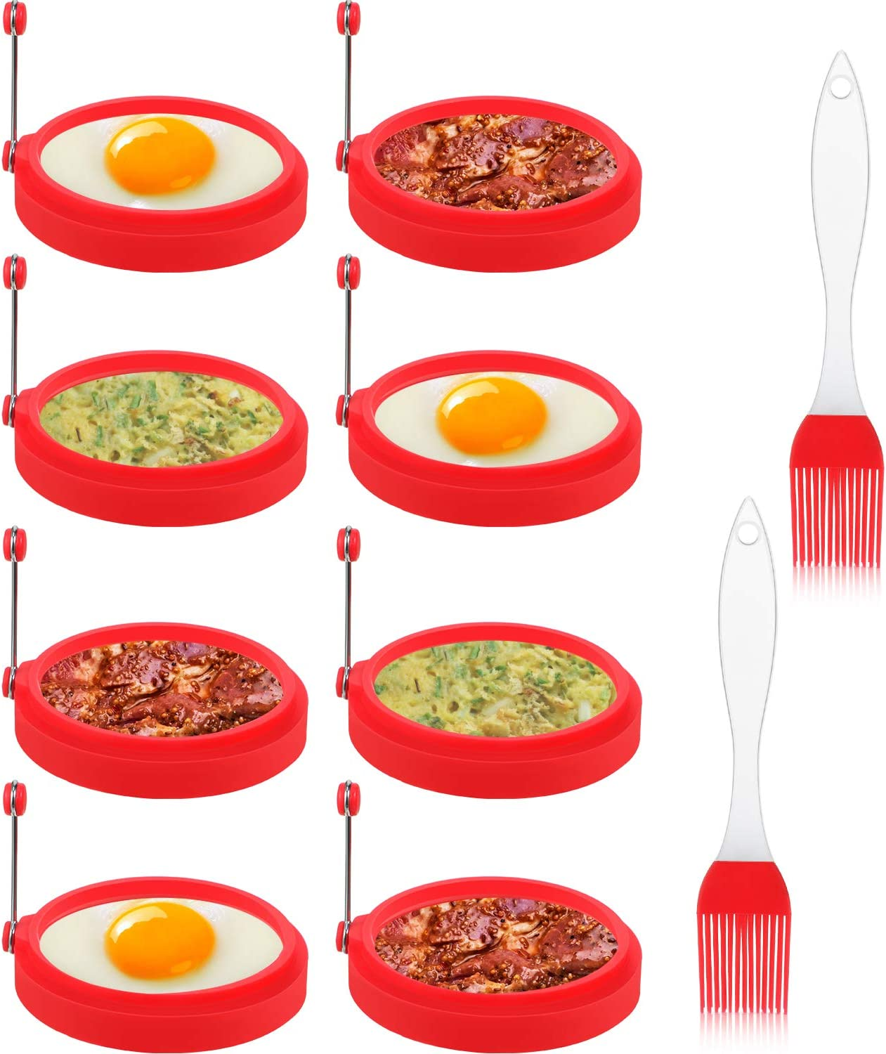 8 Packs Silicone Egg Rings, 4 Inch Food Grade Egg Cooking Rings, Non Stick Fried Egg Ring Mold, Pancake Breakfast Sandwiches, with 2 Silicone Brushes (Red)