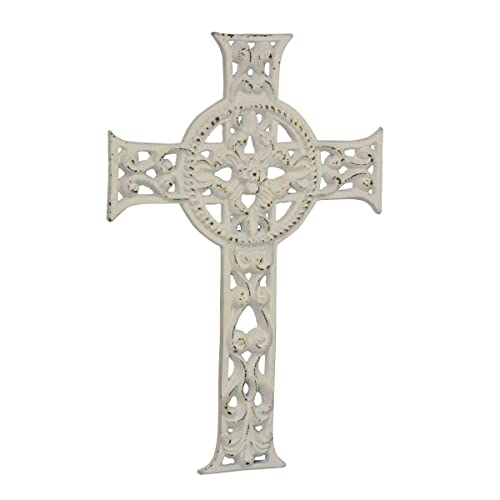Stonebriar Accents of Faith 11.5 Worn White Cast Iron Hanging Cross