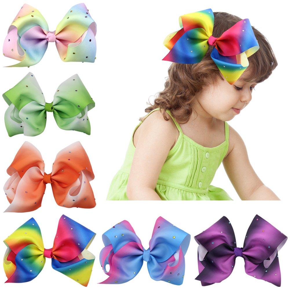 QtGirl 4pcs 7 Baby Girls Big Rainbow Hair Bows Alligator Clips with Rhinestone Fashionfamily NJY185C@#GLY