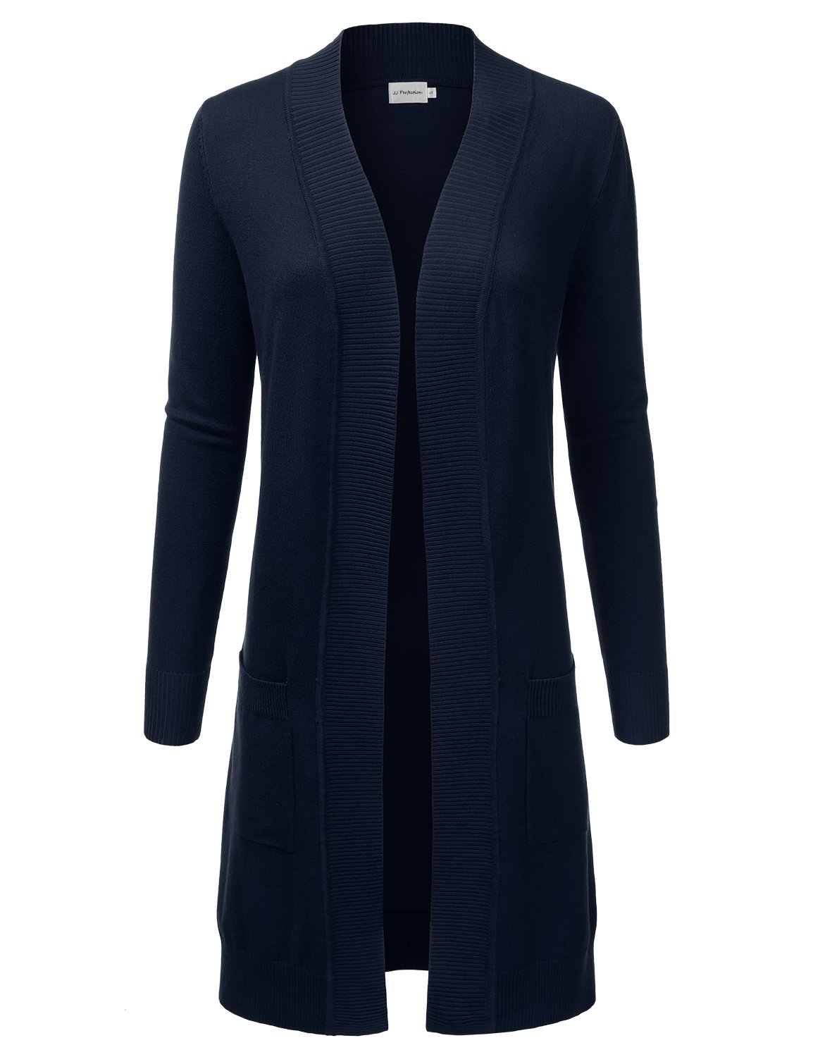 JJ Perfection Womens Light Weight Long Sleeve Open Front Long Cardigan Navy L