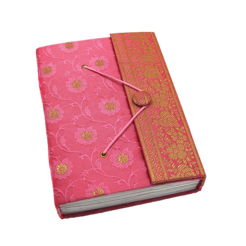 Carnet de notes en sari - commerce é quitable - grande 135 x 185 mm rose