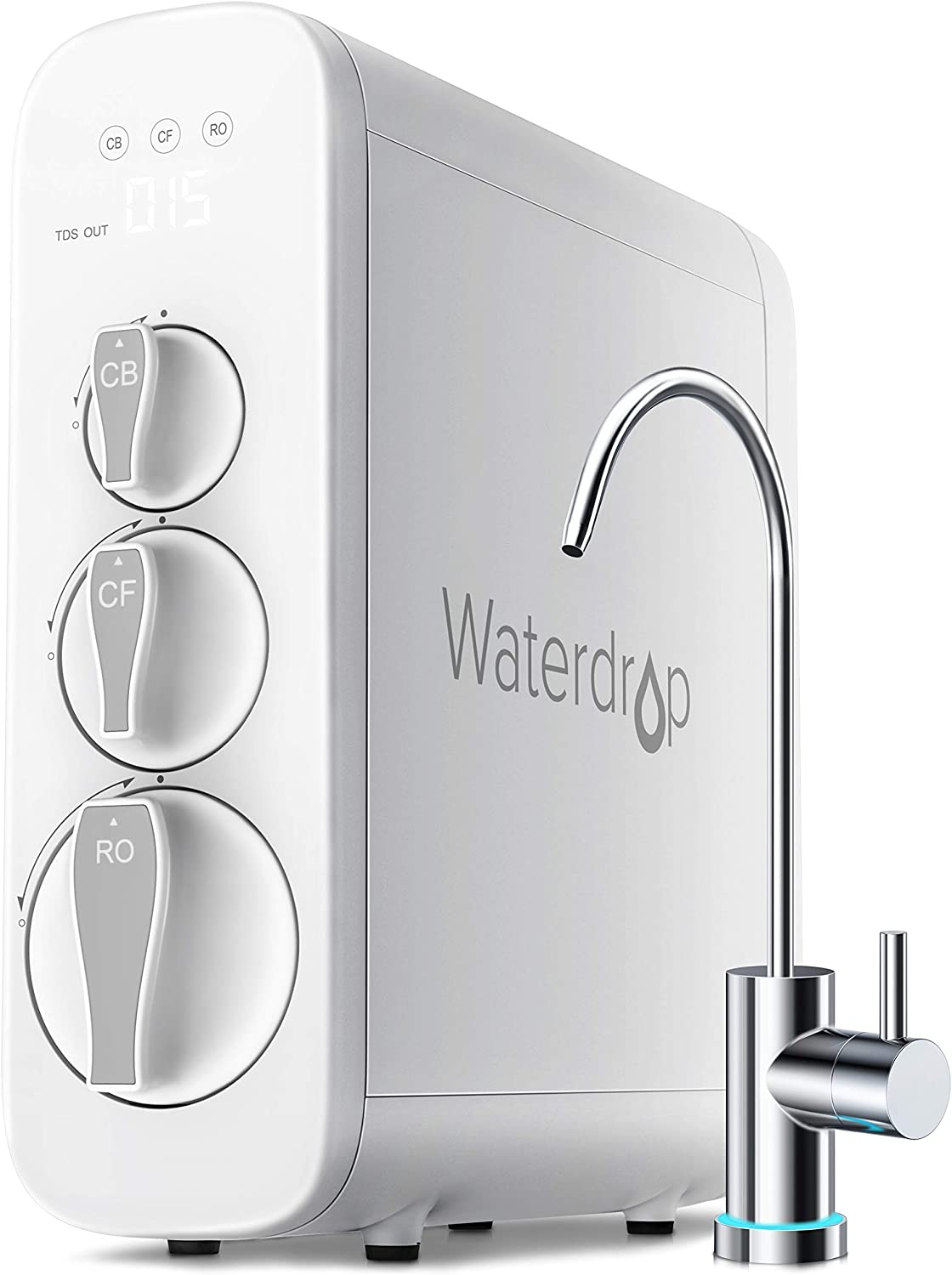 Waterdrop Reverse Osmosis Water Filtration System, TDS Reduction, 400 GPD Fast Flow, Tankless, Smart Faucet, UL Listed Power Cord, 1: 1 Drain Ratio, USA Tech Support (Renewed)