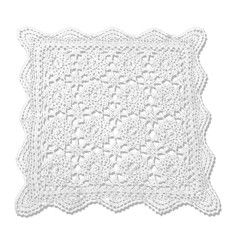KEPSWET - Mantel de Crochet Hecho a Mano, diseño de Flores tridimensionales, algodón, Encaje Cuadrado, para sofá, Toalla Decorativa, algodón, Blanco, ...