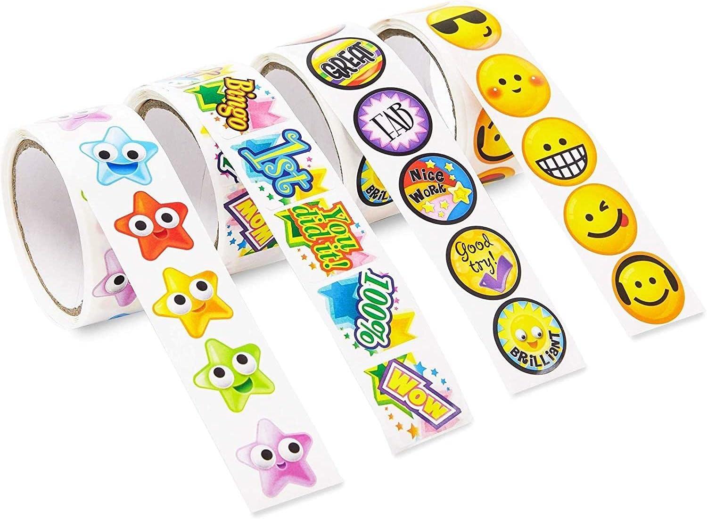 Reward Achievement Sticker Roll for Kids, Teacher Supplies (600 Pieces)