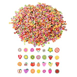 DECORA 1/4 Inch 3200 Pieces Mini 3D Fruit Slices for Slime Crafts Nail Art and Face Decoration