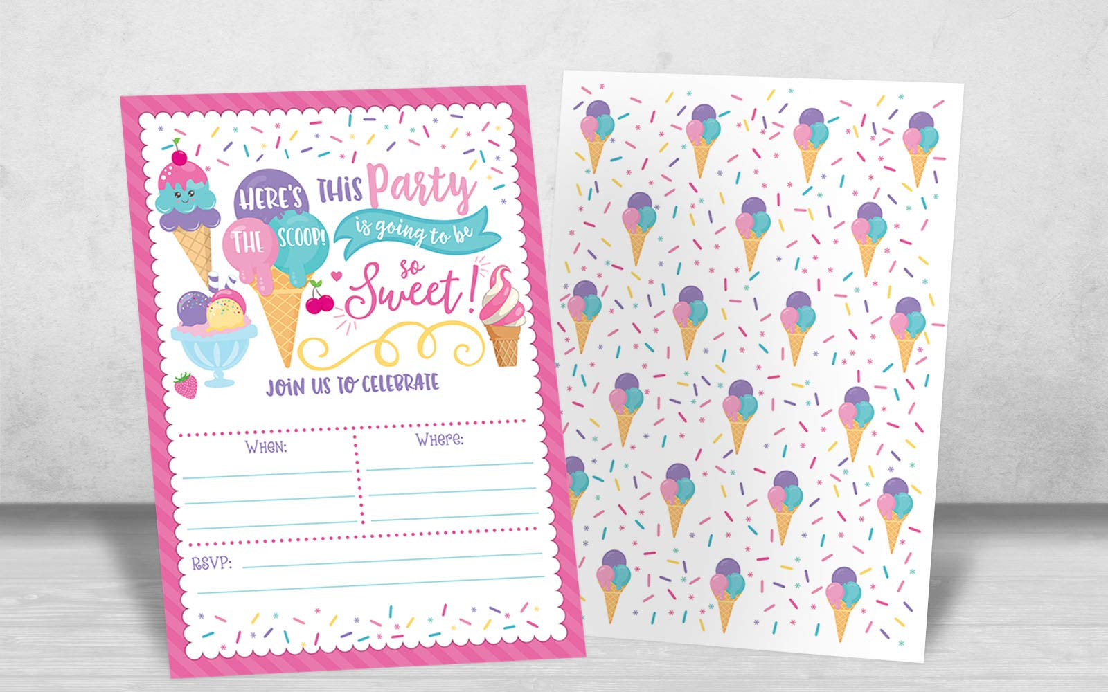 Ice Cream Birthday Party Invitations, Girl Birthday Invitations, Here's The Scoop, Ice Cream Social, 20 Fill in Invitations and Envelopes by Your Main Event Prints (Image #3)