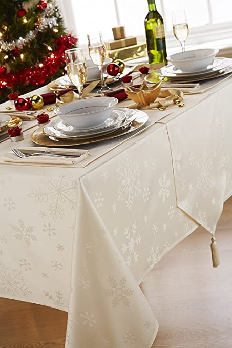 Blizzard Snowflake Cream Christmas (Xmas) Tasselled Extra Long Table Runner  (13x96in 33x243cm