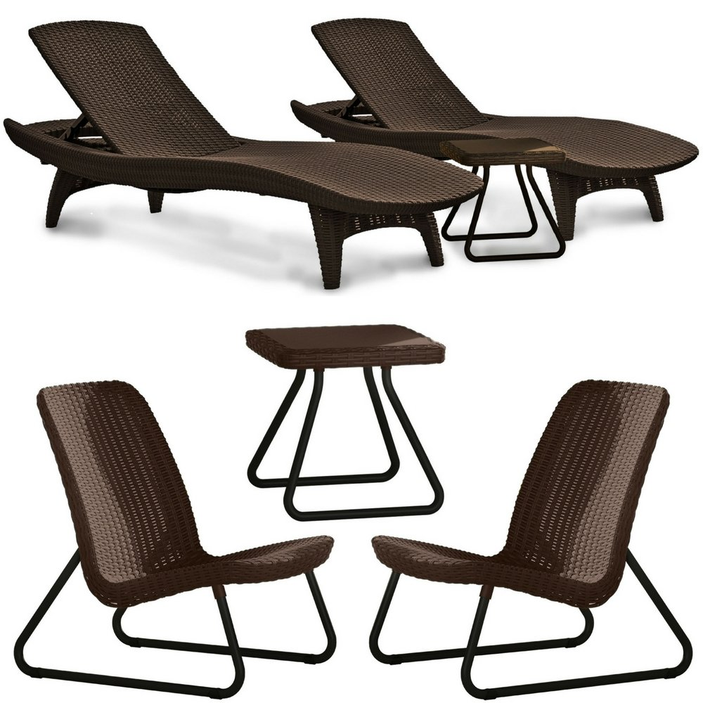 Keter Pacific Outdoor Woven Lounger and Side Table Set Brown with Keter Rio  Conversation 2 Chair & Side Table Set All Weather Heavy Duty Outdoor  Furniture ... - Amazon.com: Keter Pacific Outdoor Woven Lounger And Side Table Set