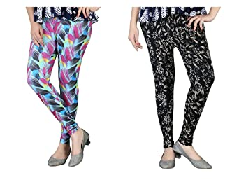 2217289bd4c23c DeVry Women Colorful Printed Leggings Set of 2 Pcs DRY090_MultiColor  available at Amazon for Rs.