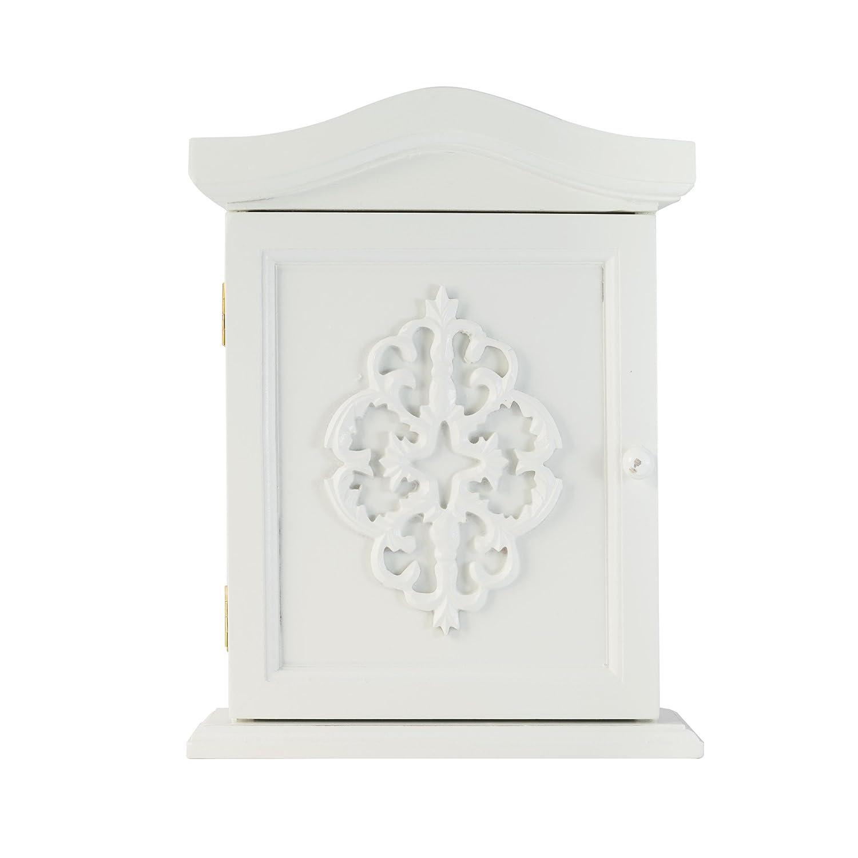 Cabinet chiave con ornamenti e porta in bianco antico in legno in stile country elbmoebel