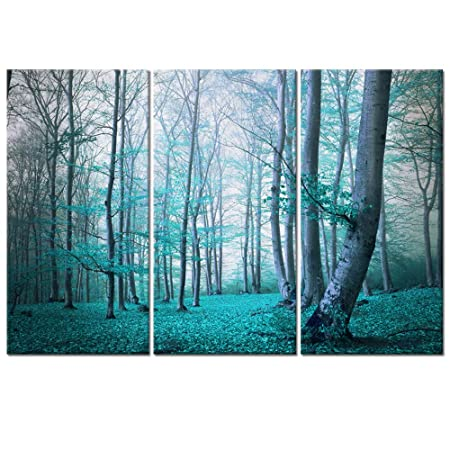 Visual Art Decor 3 Pieces Teal Blue Tree Forest Landscape Canvas Prints Home Living Room Large Modern Wall Decoration Ready to Hang