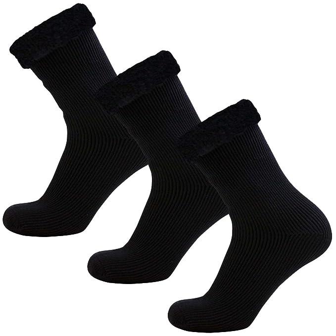 Bien tejer para hombre cepillado calor calcetines térmicos Talla 6 - 11 Negro & Gris Oscuro