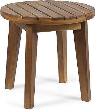 Acacia Wood Outdoor Accent Table Patio Teak Finish Yard Furniture Pool SideTable
