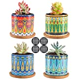 Molliy 3.5 Inch Succulent Plant Pots Mandalas Pattern Cylinder Ceramic Succulent Planter Small Flower Pots for Cactus with Drainage Hole and Bamboo Tray, 4 PCS
