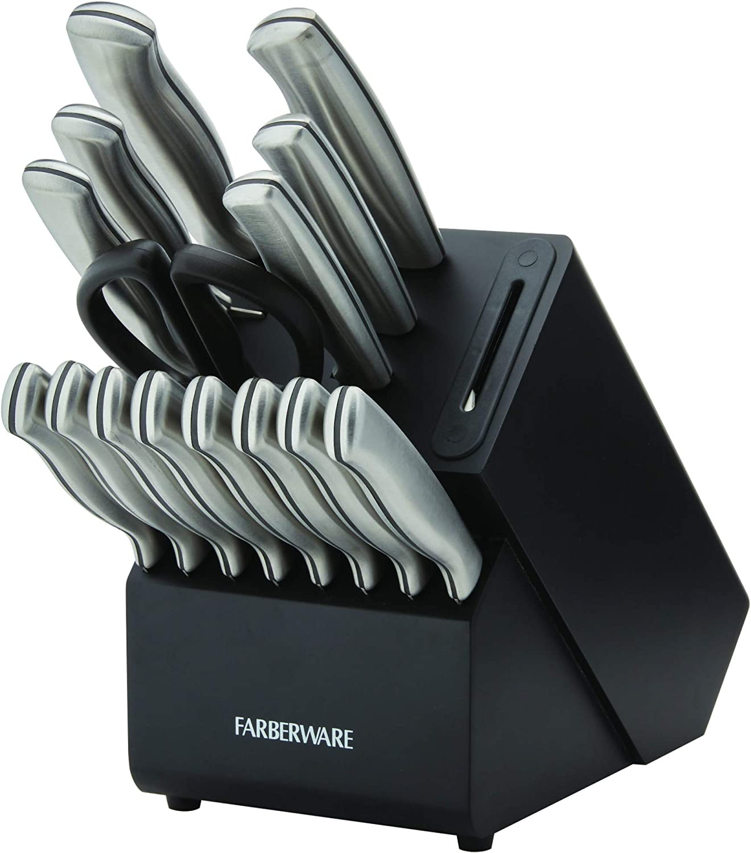 Farberware Edgekeeper 16-Piece Stainless Steel Block Set with Built in Knife Sharpener, Black,5253519