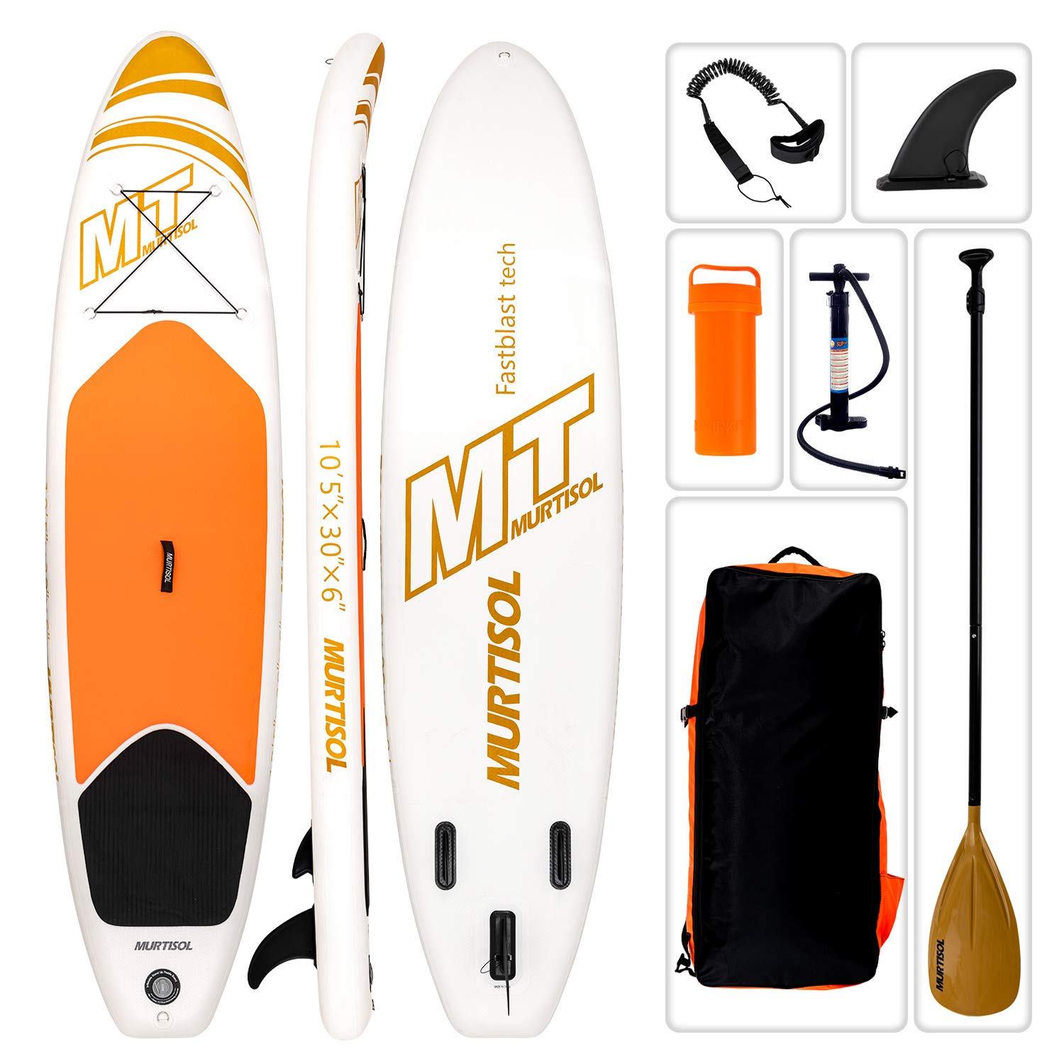 Murtisol 10'5'' Inflatable Stand Up Paddle Board(30in Width), Ultra-Thick Durable PVC, Non-Slip Deck, Premium SUP Accessories, Dual-Action Pump, Safety Ankle Strap, Adjustable Paddle, Yellow by Murtisol