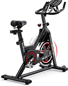 RINKMO Spin Bike, Indoor Stationary Bike with Pad Holder, Super Silent Exercise Bike with 36Lbs Chromed Solid Flywheel, LCD Monitor, Adjustable Seat and Handlebars